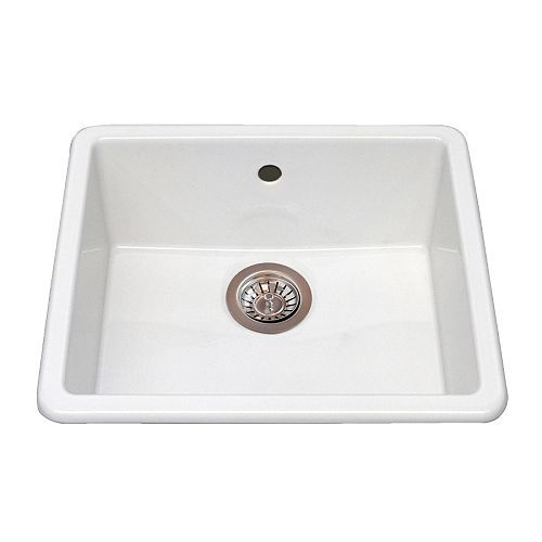 IKEA ceramic sink.  If it's undermount could work for island sink.  21 inches wide, 18 inches deep, 7 inches high.  $106