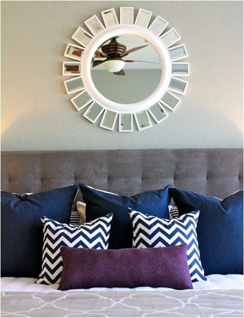 grey and navy (with a little purple) really like the mirror above the bed too