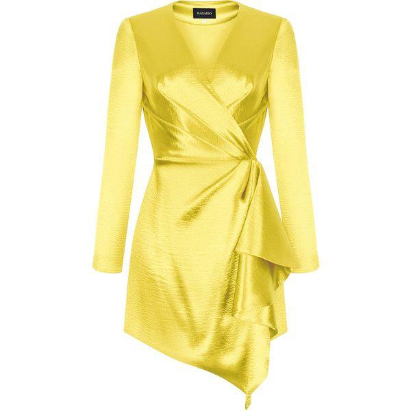 Long Sleeve Mini Dress   Moda Operandi ($1,835) ❤ liked on Polyvore featuring dresses, v-neck dresses, yellow dress, v neck short dress, v neckline dress and long-sleeve mini dresses