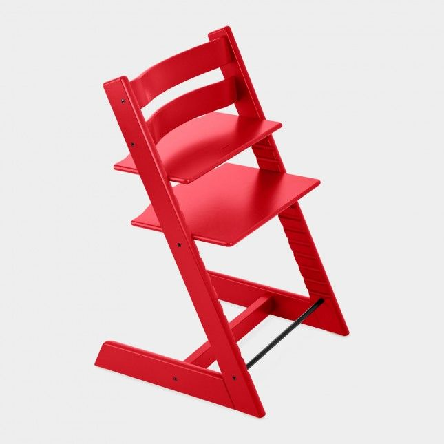This bright high chair is super stylish.