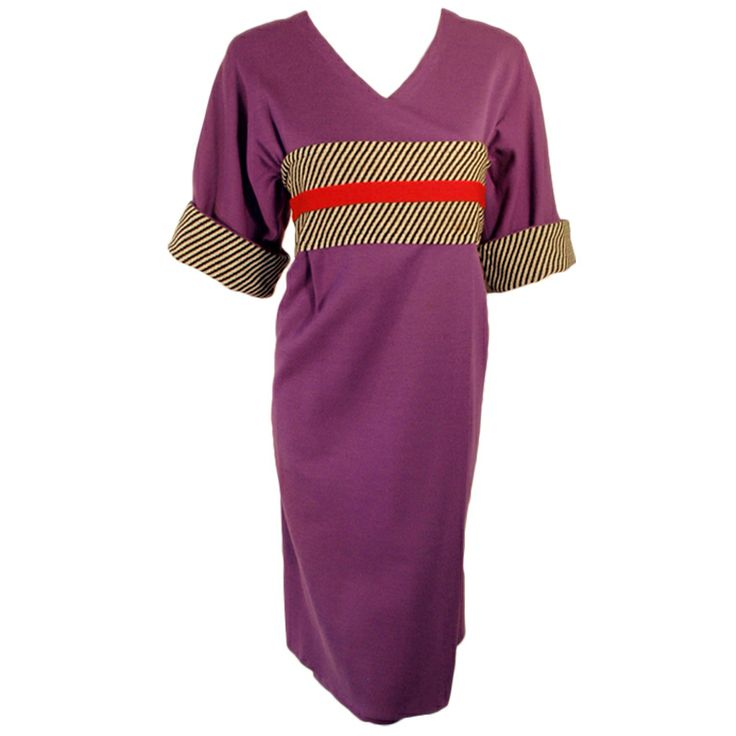 Rudi Gernreich Vintage Purple Knit Kabuki Dress w/ B/W Stripes | From a collection of rare vintage day dresses at http://www.1stdibs.com/fashion/clothing/day-dresses/