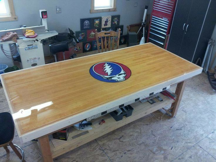 Awesome work bench made out of recycled bowling alley ...