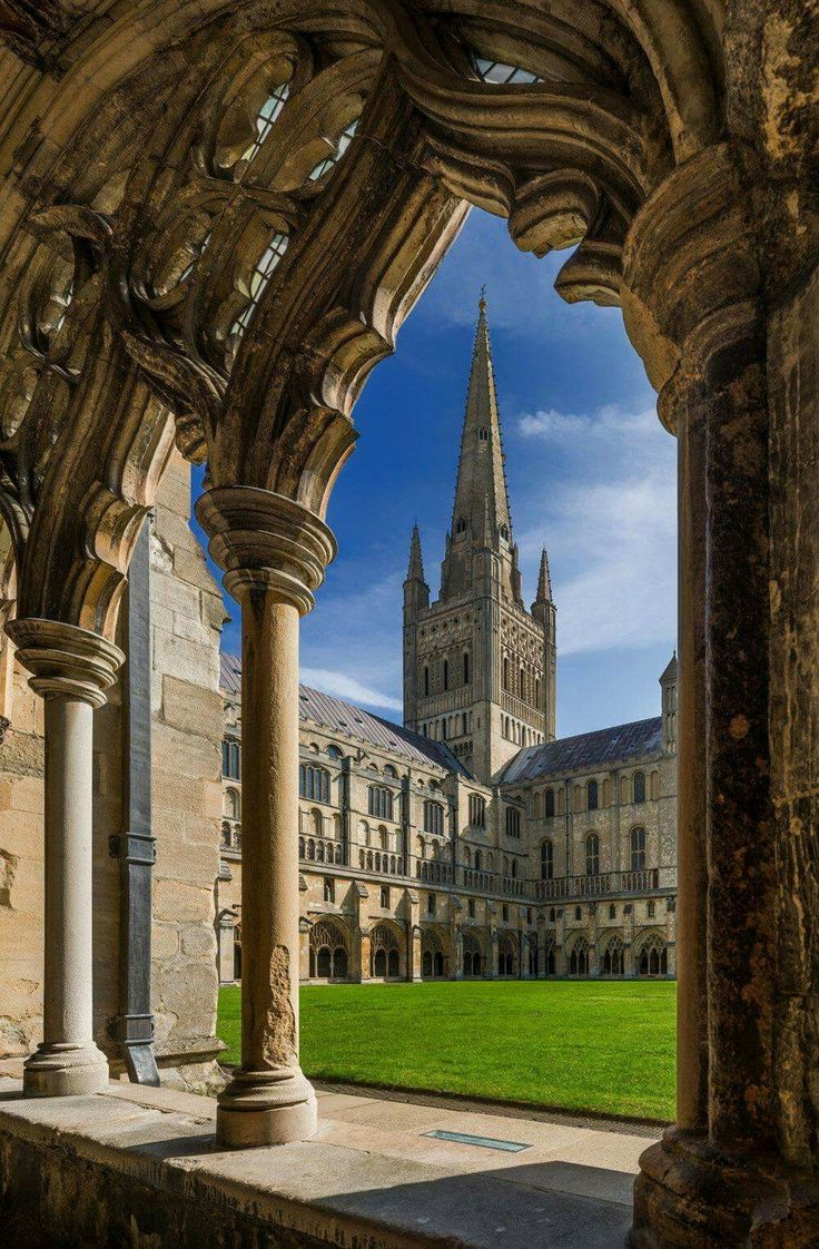 Norwich Cathedral from the cloisters, in Norfolk, England.