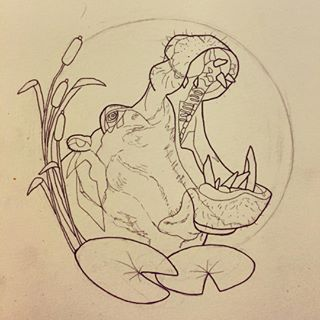 Hungry hippo for the man. #hippo #hippopotamus #tattoo #tattoooutline #art…
