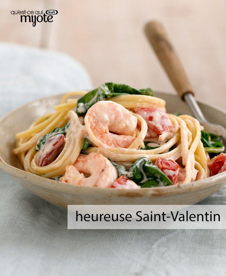 Pâtes aux crevettes en amour - Une savoureuse idée pour un souper en tête à tête à la maison... #recette