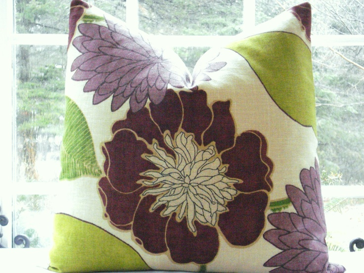 22x22 Decorative Pillow Cover Designer Fabric Purple Chartreuse Purple Throw Pillow Floral