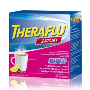 Theraflu Zatoki to lek w formie proszku do sporządzania roztworów doustnych do leczenia objawów grypy i przeziębienia.