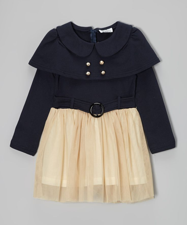 Take a look at this Navy & Cream Belted Dress - Toddler & Girls on zulily today!