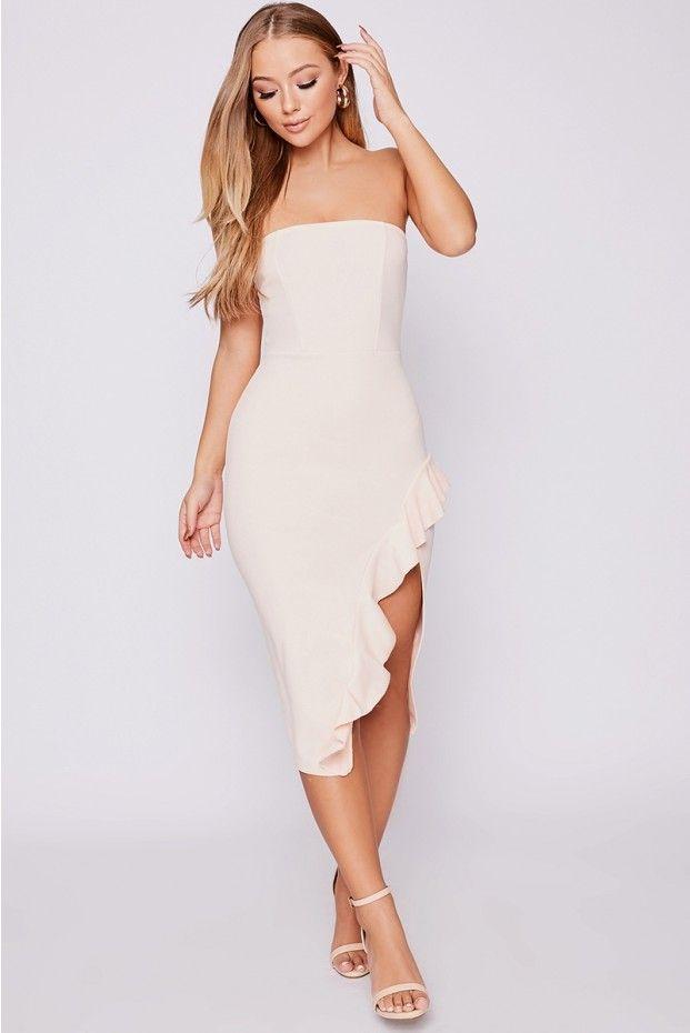 367afa693e0 Billie faiers pink bandeau frill side midi dress