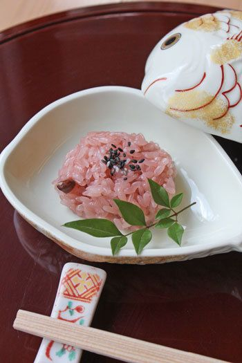 Sekihan 赤飯 (red rice: steamed mochi rice with red beans) is often served on special occasions (celebrations) throughout the year in Japan
