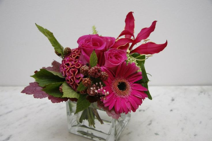 Low hot pink flower arrangement in a cubic vase made of hot pink gerberas, celosia roses strawberries, gloriosa