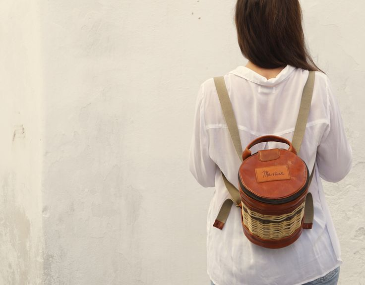 Basket Leather Backpack - Mosaic - Traditional - Culture - Greek Designers - Made in Greece - Naxos Island - Cyclades of Greece - - Summer Outfits -Fashion in Greece - Spring Summer Collection - Brown Color - Bag