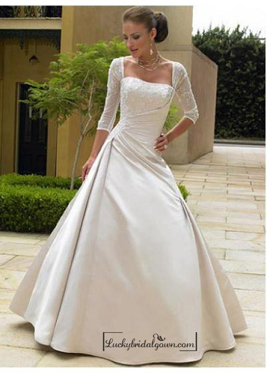 Beautiful Exquisite Gorgeous Satin Illusion  3 /  4-length Sleeves Wedding Dress In Great Handwork