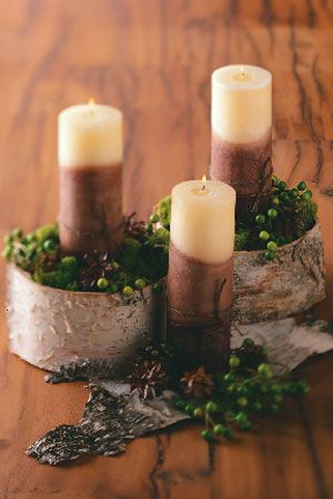 Birch Bark candles centerpiece