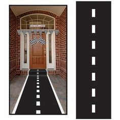 """Your guests can step right up to the racetrack when you lay out this Racetrack Runner! Includes 1 runner that measures 24"""""""" x 10"""""""" and has double stick tape.Package includes (1) 24"""""""" x 10' Racetrack R                                                                                                                                                                                 More"""