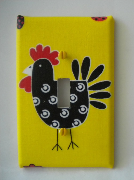 Country Hen Rooster Chicken Light Switch Plate by EcoGirlCreations, $6.49