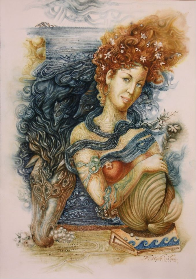 AMPHITRITE – ( aquarelle ) 70Χ100, 2009. – ΑΜΦΙΤΡΙΤΗ - (ὑδατογραφία) 70Χ100 -2009.Paintings by Aristomenis Tsolakis, Athens.