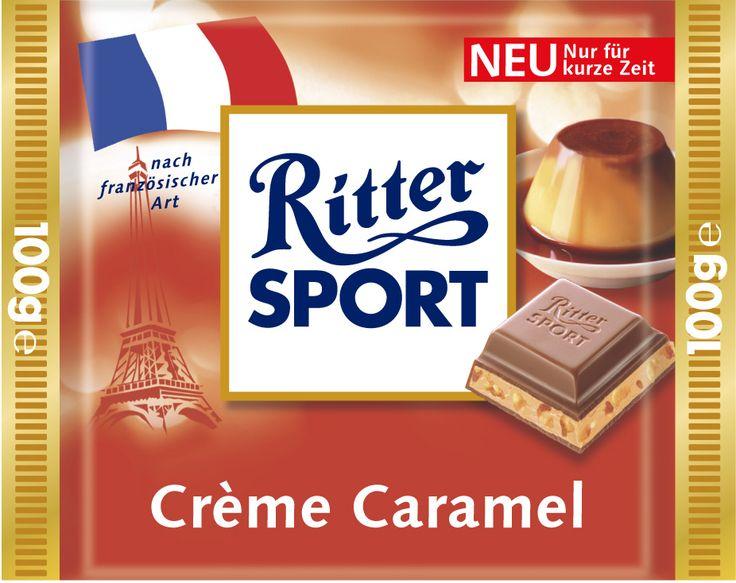 Die RITTER SPORT Crème Caramel nach französischer Art versüßte im Rahmen der Länderpromo in den Jahren 2004 und 2005 das Schokoladensortiment.