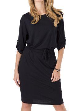 Shop Black Roll-up Sleeve Tie Waist Bodycon Dress from choies.com .Free shipping Worldwide.$15.11