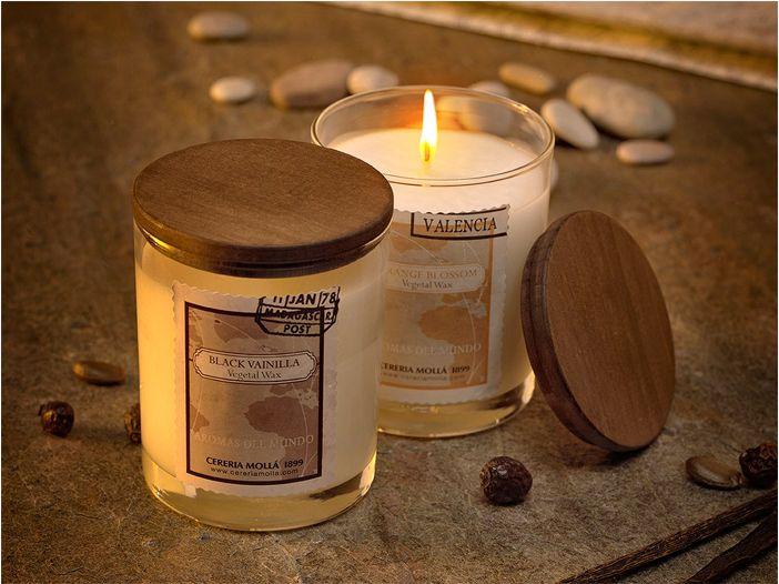 Velas cera vegetal 100% y mecha de algodón, no emiten humos y su duración es un 20% superior a las velas fabricadas con parafina. Comprar vela cera vegetal