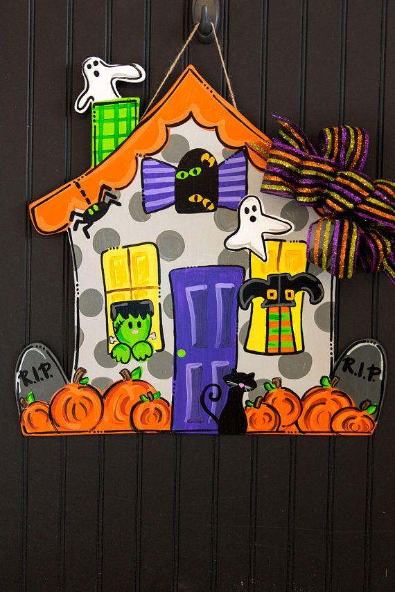 Halloween Door Hanger Wooden Door Hanger Haunted House Etsy Halloween Door Hangers Halloween Door Wooden Door Hangers