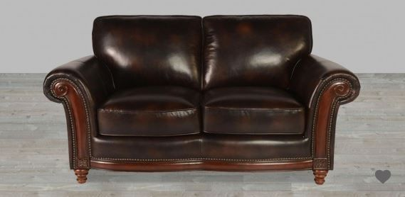100 Full Grain Leather Loveseat With Nailheads Love Seat Full Grain Leather Sofa Leather Loveseat