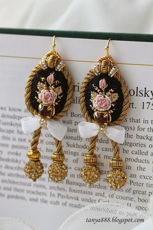 Татьянина мастерская. Embroidered drop ear rings. Pink roses embroidered on black cameo, surrounded by braided rope of golden thread, hanging crystal-studded clay balls