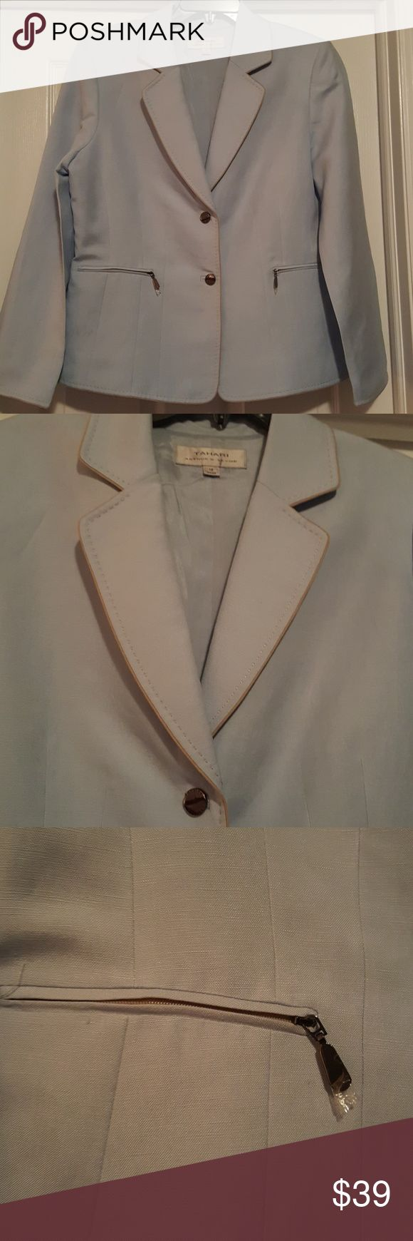 """NWOT Tahari Light Blue Blazer w/ khaki color trim This has never been worn.  This is gorgeous. Arm length 24 1/2"""" long  jacket  length 25 1/2"""" long. across the chest 23"""" wide. Tahari Jackets & Coats Blazers"""