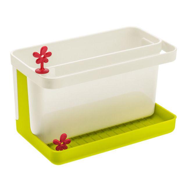 Organizer kuchenny PARK IT na przybory - kolor zielony, KOZIOL.  Pomieści potrzebne przybory do mycia naczyń. Ale znajdzie również zastosowanie jako ociekacz do sztućców!
