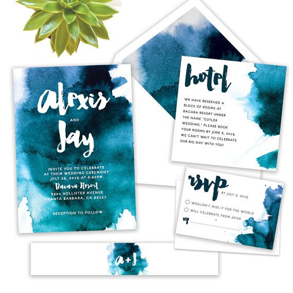 The Watercolor wedding invitation suite is perfect for the modern bride. The suite comes in 3 color options: blue and teal, purple and pink,