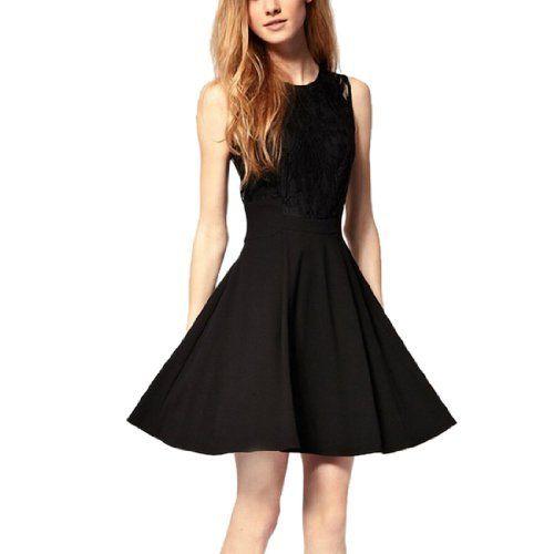 Slim Fit Damenkleid Schoenes Schwarzes Kleid Rundhals Armelloses Ballkleid mit Spitze Fashion Season, http://www.amazon.de/dp/B00J7EHD6Y/ref=cm_sw_r_pi_dp_h8Pmtb1SXW43D