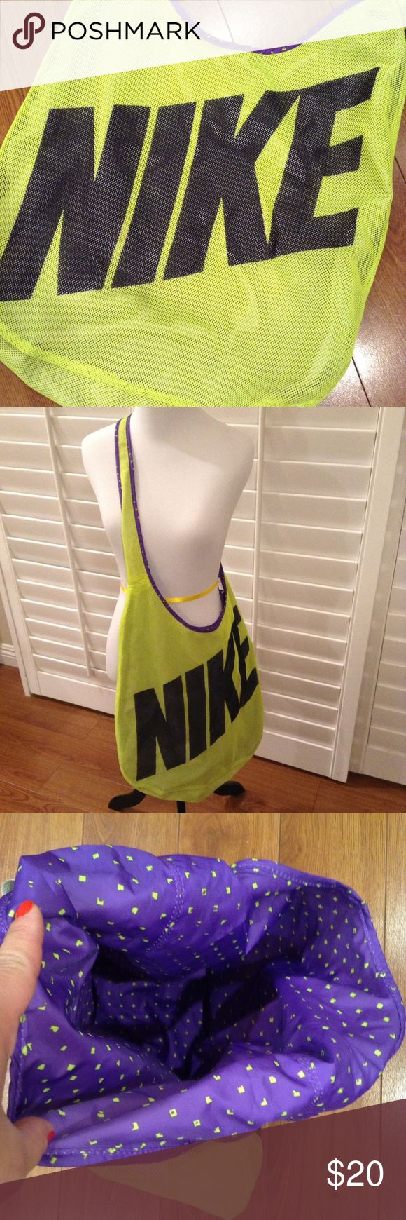 🌟Reversible NIKE Mesh Tote Bag🌟 EUC!! Perfect for Gym use! Easy to clean material. Yellow mesh outer with a purple windbreaker type material on the inside. No damage. Thanks for looking! Nike Bags Totes