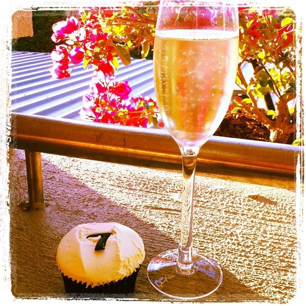 A beautiful day like this requires champagne and cupcakes on the balcony. Yes indeed.