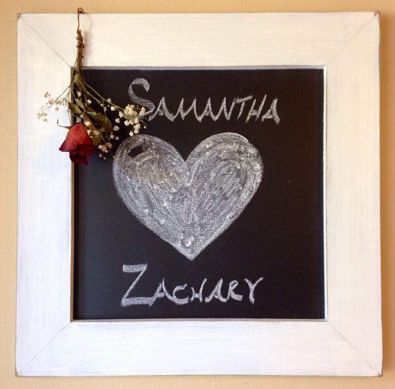 small framed chalkboard with rustic white wooden frame approximately 17x17 outside width cute wedding blackboard