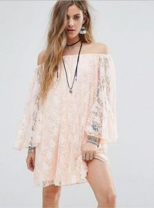 boho pink dress summer dantelenio makrimaniko mini forema