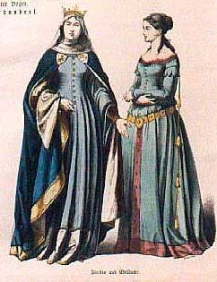 In the 13th and 14th centuries the dresses had changed from flowing freely to dresses that had lacing to shape the garment closer to the body.