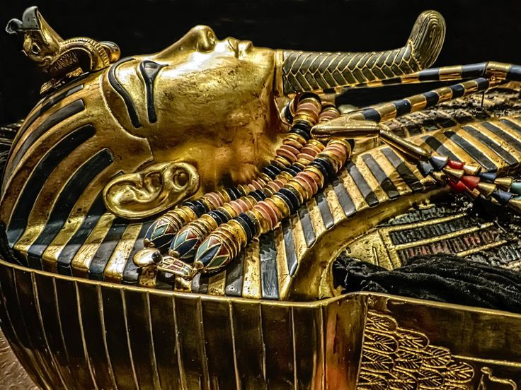 "https://flic.kr/p/TwNE9w | Second inner coffin with lid removed exposing King Tutankhamun's mummy wearing the gold death mask New Kingdom 18th Dynasty Egypt 1332-1323 BCE | These meticulously created reproductions were photographed at  The Discovery of King Tut"" exhibition in New York City."