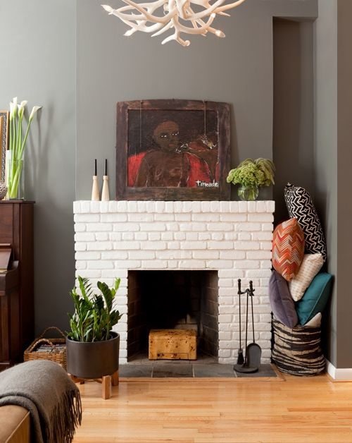 decor8: Wall Colors, White Bricks, Living Rooms, Grey Wall, Gray Walls, House, White Brick Fireplaces, White Fireplaces, Dark Wall