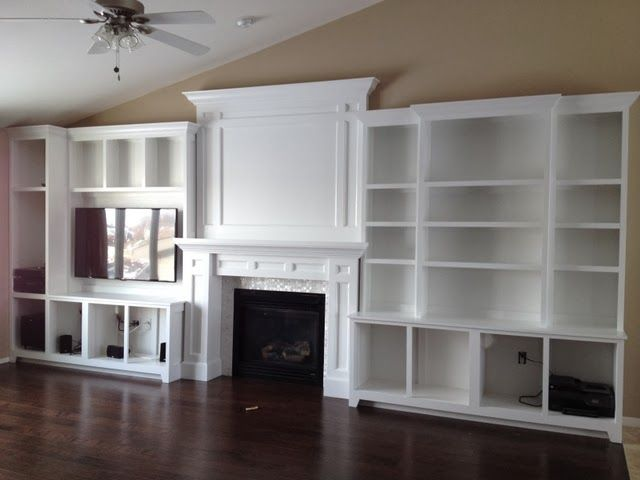 DIY built-in fireplace surround, entertianment center and bookshelves.