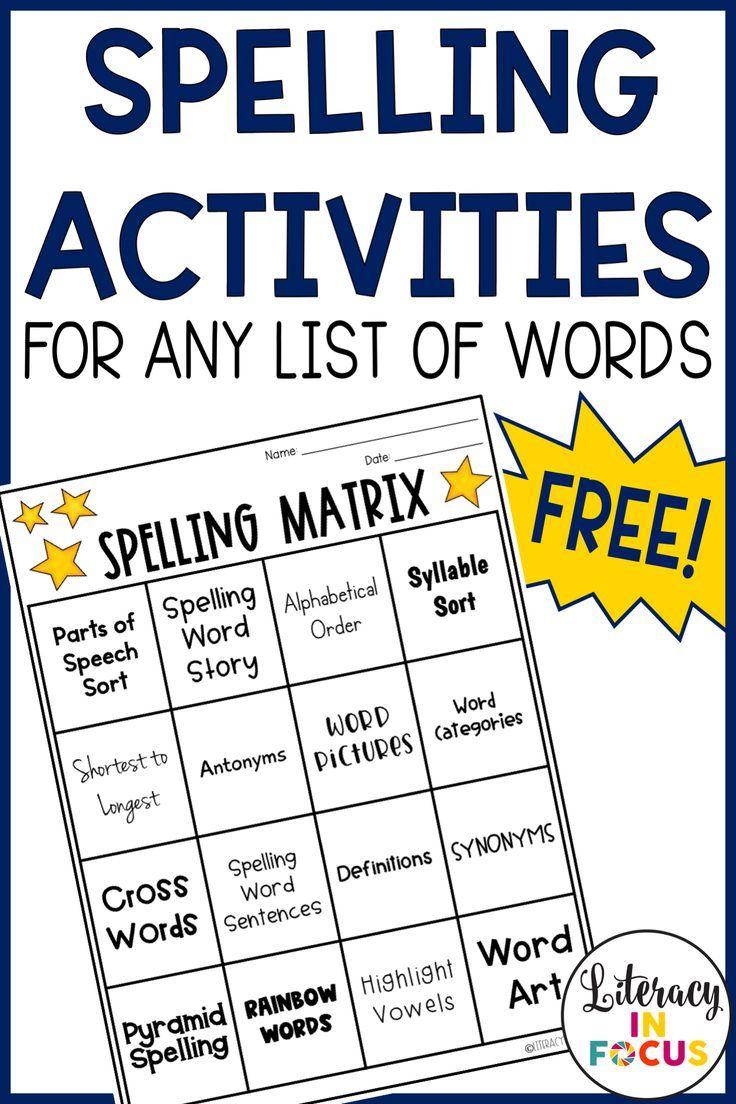 Free spelling word practice worksheet! Sixteen different