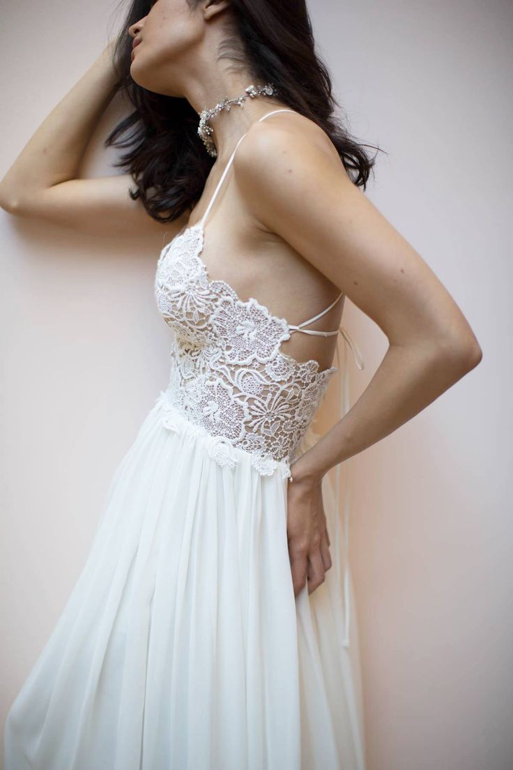 Sarah Seven #theromanticscollection, Whitman Gown, romantic lace wedding dress, spaghetti strap wedding dress, A line wedding dress, flowy wedding gown, low back wedding gown