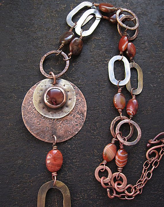 Statement Long Mixed Metal Necklace with Jasper by MaryBulanova