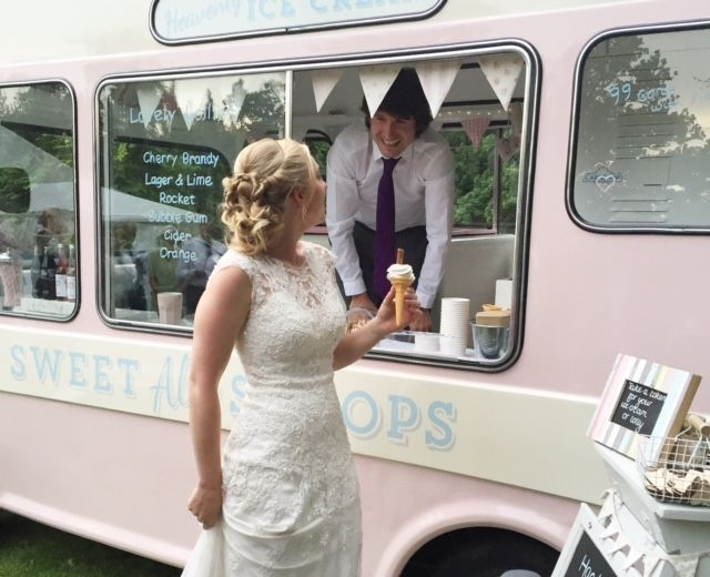 The groom had such fun serving an ice cream from Lottie my vintage ice cream van.  The bride and groom treated their guests to ice cream as a dessert after a hog roast.