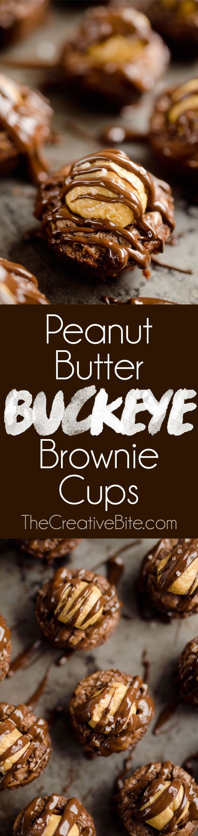 Peanut Butter Buckeye Brownie Cups are the best new dessert recipe you will try! Mini brownies are topped with a Reese's peanut butter filling and drizzled with dark chocolate and sea salt for a drool-worthy sweet treat. #Brownie #PeanutButter #Chocolate