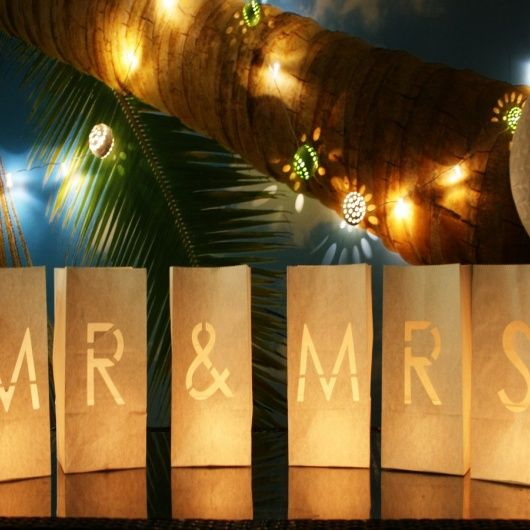 Mr & Mrs Candle Bag Lanterns.  Beautiful Mr & Mrs paper lanterns. Flame retardant candle bags for wedding decorations  These gorgeous candle lanterns spell out Mr & Mrs for a perfect decorative piece for your big day, perfect photo opportunities, top table, church and reception decorations.