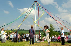Maypole dancers at Oak Apple Day in Great Wishford