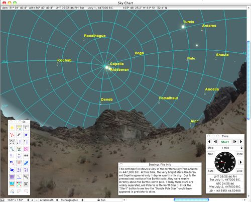 This illustration shows the view from Seen from present-day Arizona in 447,000 B.C., when Aldebaran and Capella served as double pole stars.  Illustration via Carina Software and Instruments