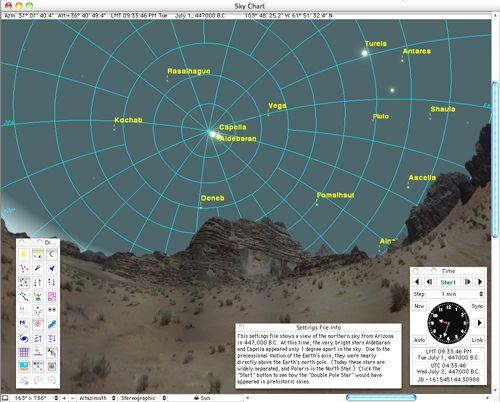 present-day Arizona in 447,000 B.C., when Aldebaran and Capella served as double pole stars.