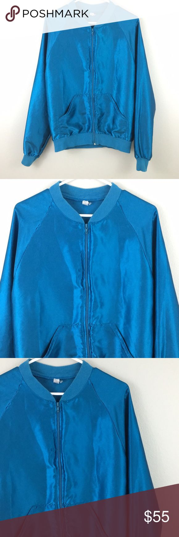 American Apparel Metallic Royal Blue Bomber Jacket Size medium! American Apparel Jackets & Coats