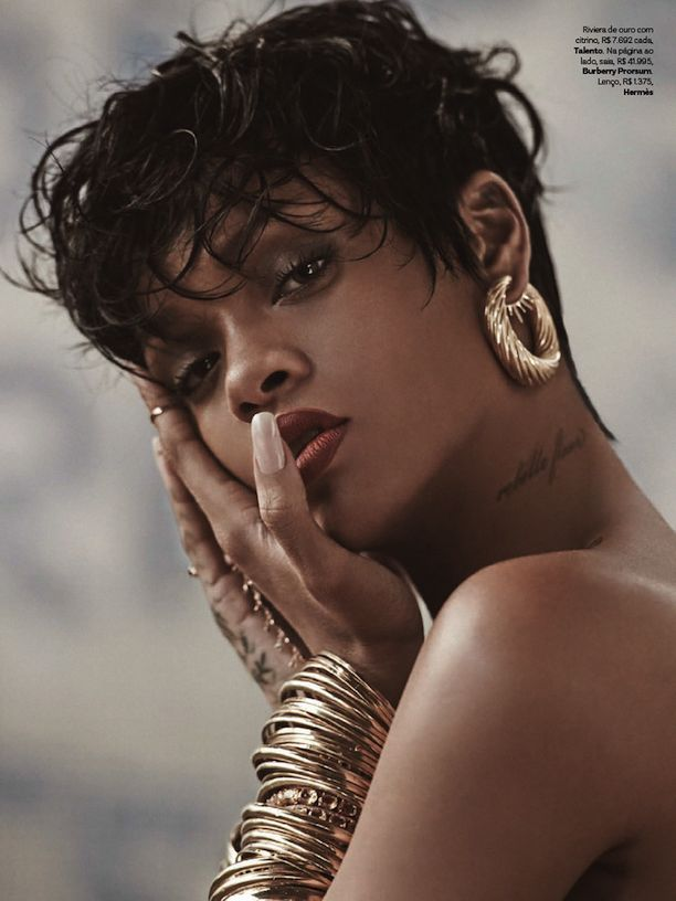 Who What Wear Rihanna Vogue Brazil May 2014 Photographer Mariano Vivanco Styled by Yasmine Sterea Cover Short Pixie Cut Hair Beauty Matte Red Lipstick Tattoos Hoop Earrings